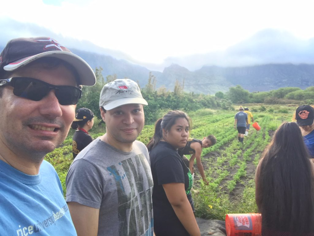 Dr. Ruben Juarez, Dr. Alika Maunakea and YLT on a farm day
